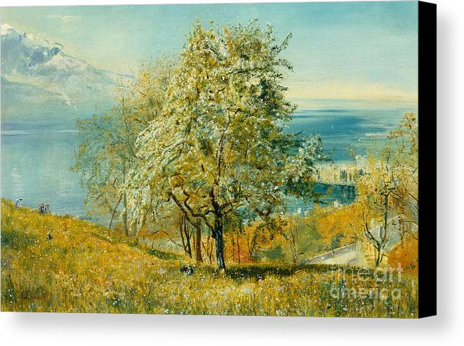 An Alpine Lake Canvas Print featuring the painting An Alpine Lake by John William Inchbold