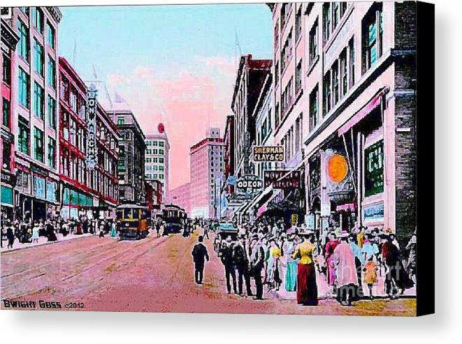 Department Stores Canvas Print featuring the painting Bon Marche Department Store In Seattle Wa In 1910 by Dwight Goss