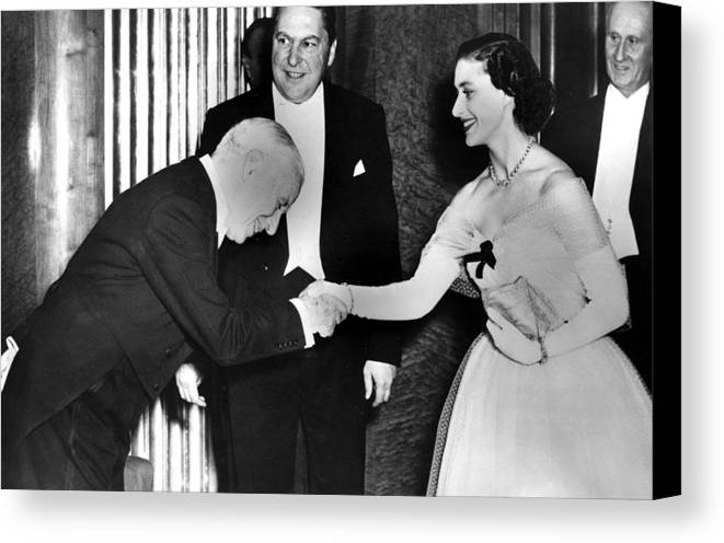 1950s Canvas Print featuring the photograph Charlie Chaplin Meeting Princess by Everett
