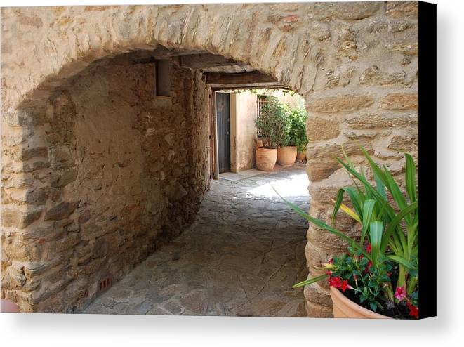Courtyard Canvas Print featuring the photograph Courtyard In The Village by Dany Lison