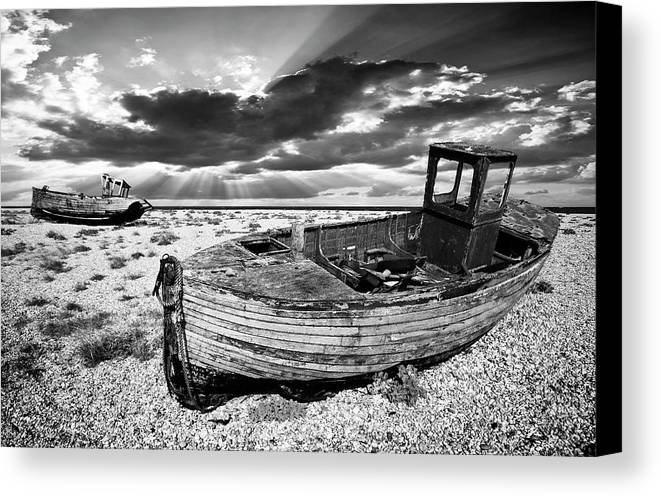 Boat Canvas Print featuring the photograph Fishing Boat Graveyard by Meirion Matthias