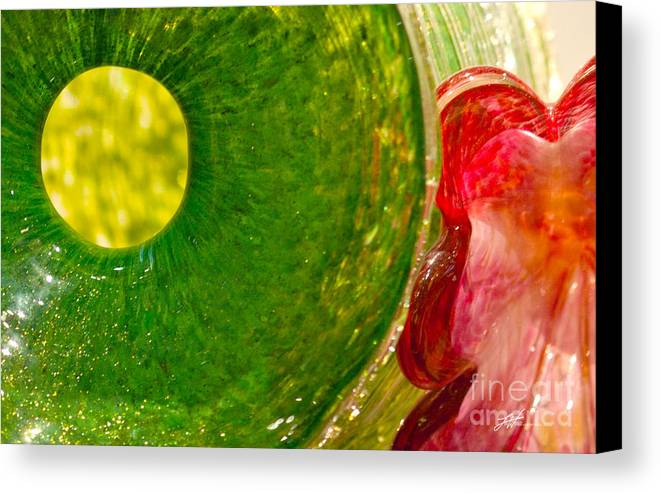 Art Glass Canvas Print featuring the photograph Green And Red by Artist and Photographer Laura Wrede