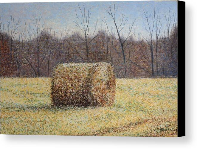 Haybale Canvas Print featuring the painting Lone Haybale by Patsy Sharpe