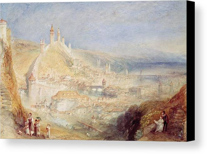 Lucerne From The Walls Canvas Print featuring the painting Lucerne From The Walls by Joseph Mallord William Turner