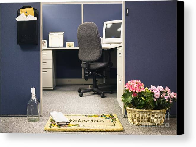 Blue Canvas Print featuring the photograph Office Cubicle by Andersen Ross