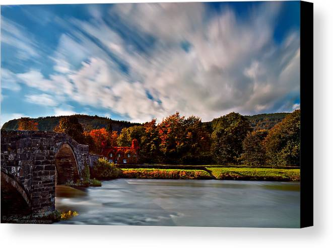 Autumn Canvas Print featuring the photograph Old Bridge In The Fall by Beverly Cash