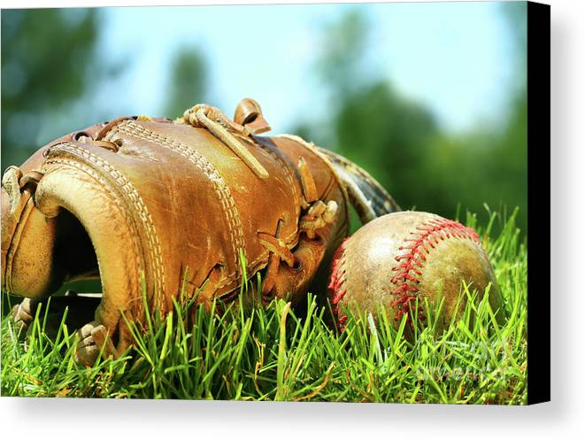 Ball Canvas Print featuring the photograph Old Glove And Baseball by Sandra Cunningham