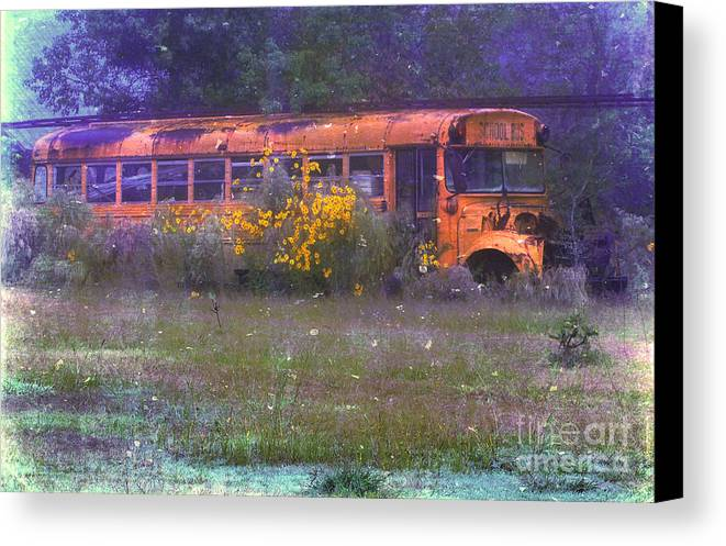 School Canvas Print featuring the photograph School Bus Out To Pasture by Judi Bagwell