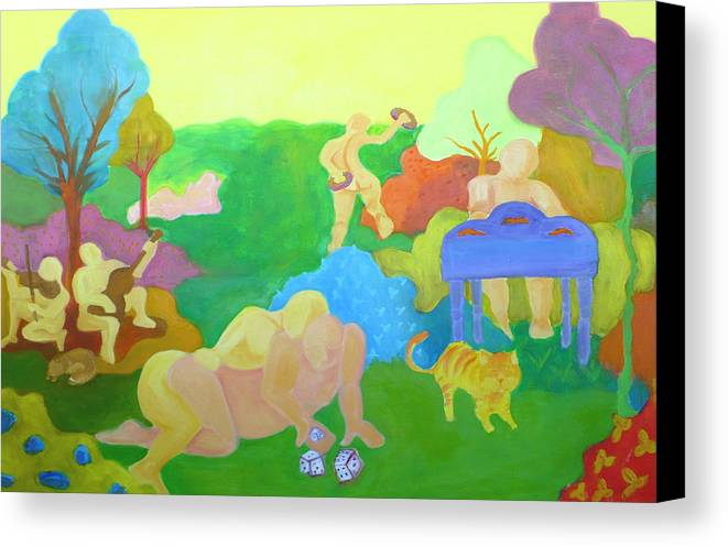Settlers Canvas Print featuring the painting Settlers by Diana Ogaard