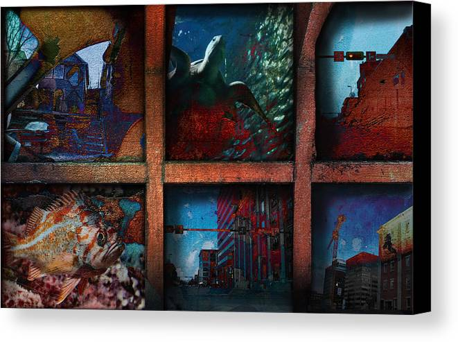City Canvas Print featuring the mixed media Steam Shovel by Janet Kearns