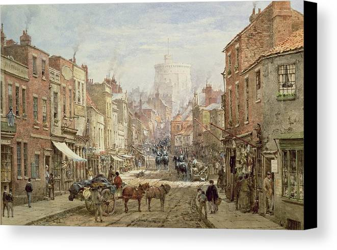The Household Cavalry In Peascod Street Canvas Print featuring the painting The Household Cavalry In Peascod Street Windsor by Louise J Rayner