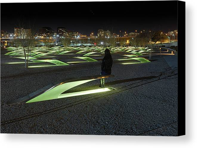 Metro Canvas Print featuring the photograph The Lonely Tourist At Pentagon Memorial by Metro DC Photography