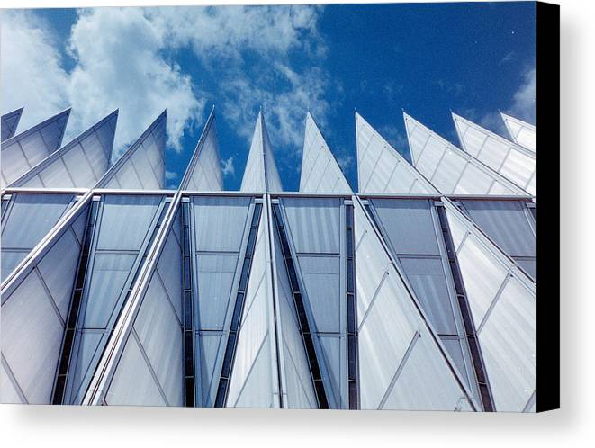 Air Canvas Print featuring the photograph Us Air Force Academy Chapel by Michael Merry