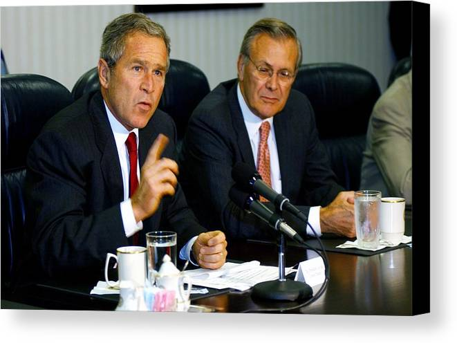 History Canvas Print featuring the photograph U.s. President George W. Bush Answers by Everett