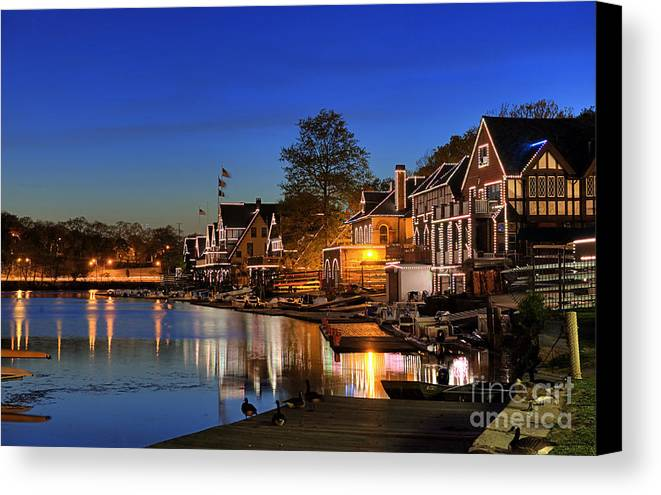 Philadelphia Canvas Print featuring the photograph Boathouse Row by John Greim