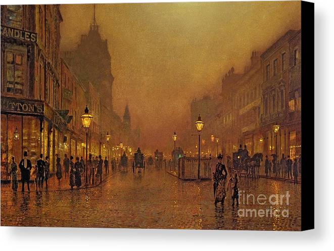 Street Canvas Print featuring the painting A Street At Night by John Atkinson Grimshaw