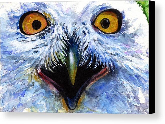Eye Canvas Print featuring the painting Eyes Of Owls No. 15 by John D Benson