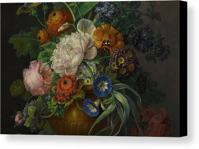 Studio Of Jean-baptiste Monnoyer Still Life Of Flowers Canvas Print featuring the painting Still Life Of Flowers by MotionAge Designs