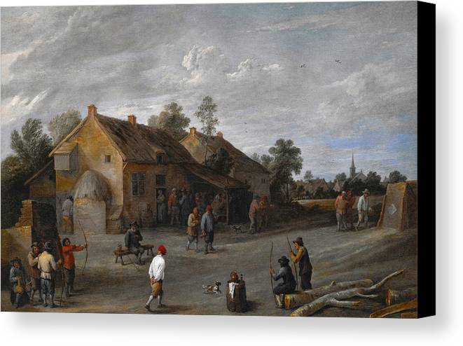 Arts Canvas Print featuring the painting The Archers by David Teniers the Younger