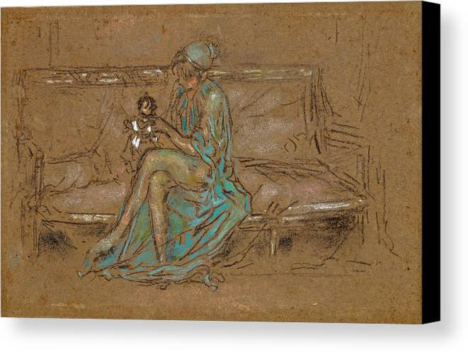 James Abbott Mcneill Whistler Canvas Print featuring the drawing The Green Cap by James Abbott McNeill Whistler