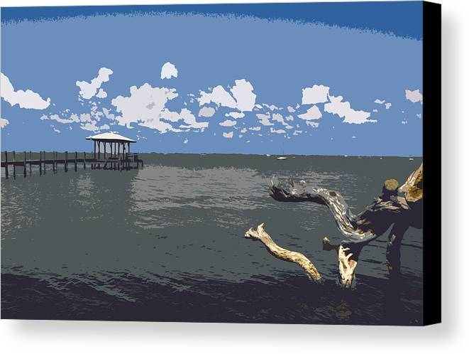 Lagoon Canvas Print featuring the painting Indian River Lagoon by Allan Hughes