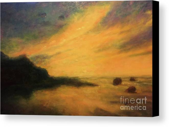 Seascape Canvas Print featuring the painting Breakwater Sunset by Kenneth Robinson