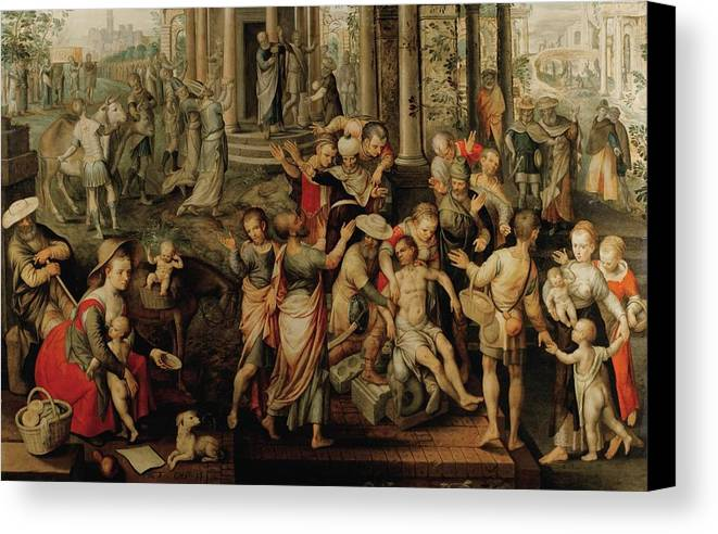 Joachim Beuckelaer ; Saint Paul And Saint Barnabas At Lystra Canvas Print featuring the painting Saint Paul And Saint Barnabas At Lystra by Joachim Beuckelaer