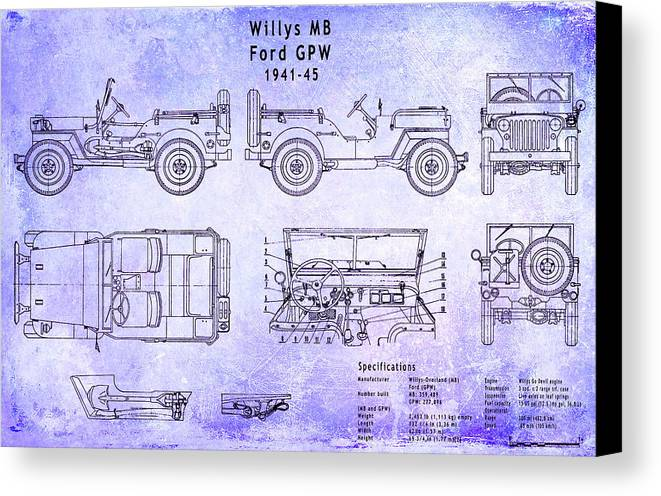 Willys jeep blueprint canvas print canvas art by jon neidert willys canvas print featuring the digital art willys jeep blueprint by jon neidert malvernweather Images