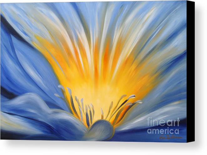 Flowers Canvas Print featuring the painting From The Heart Of A Flower Blue by Gina De Gorna