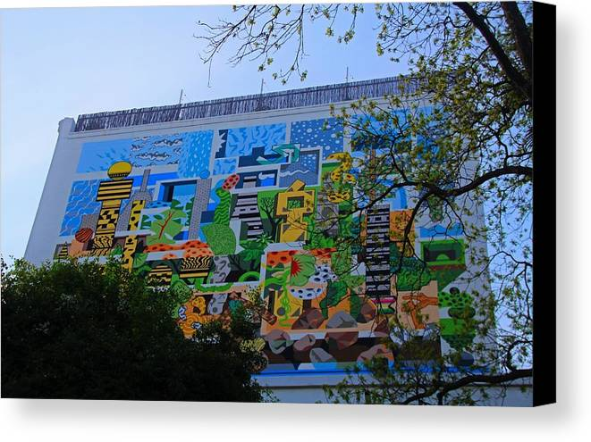 Mural Canvas Print featuring the photograph A Mural On The San Antonio Riverwalk by Michiale Schneider