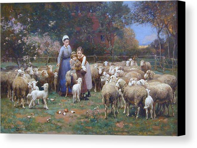 Luigi Chialiva (1842 - 1914) Canvas Print featuring the painting A Rustic Idyll by MotionAge Designs