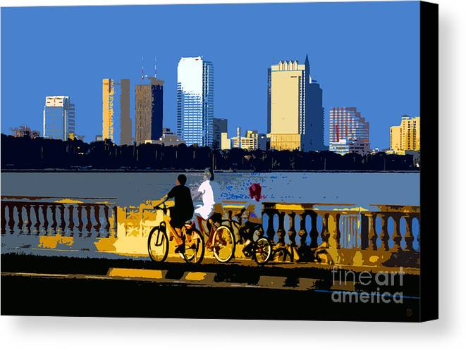 Tampa Bay Florida Canvas Print featuring the painting A Tampa Bay Florida Summer by David Lee Thompson