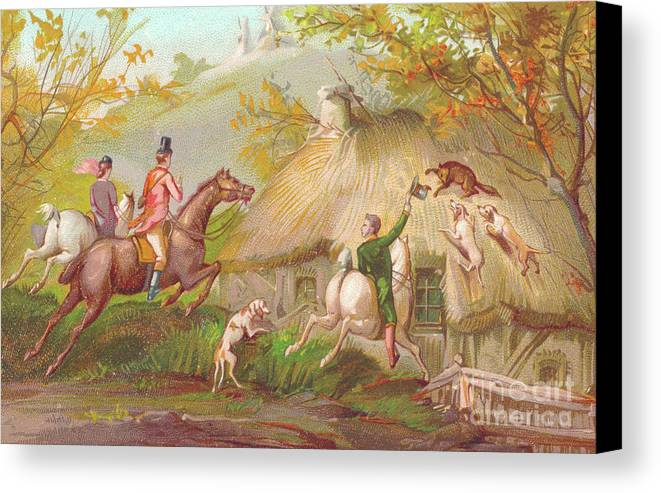 fox canvas print featuring the drawing a victorian new year card of a fox hunt by