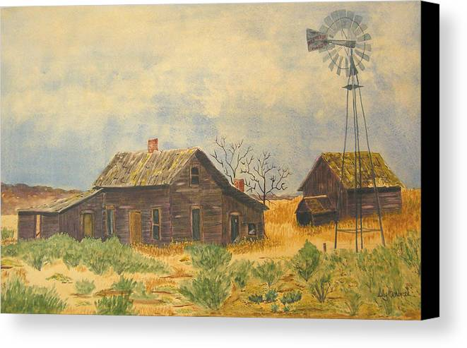 Farm Canvas Print featuring the painting Abandoned Farm by Ally Benbrook