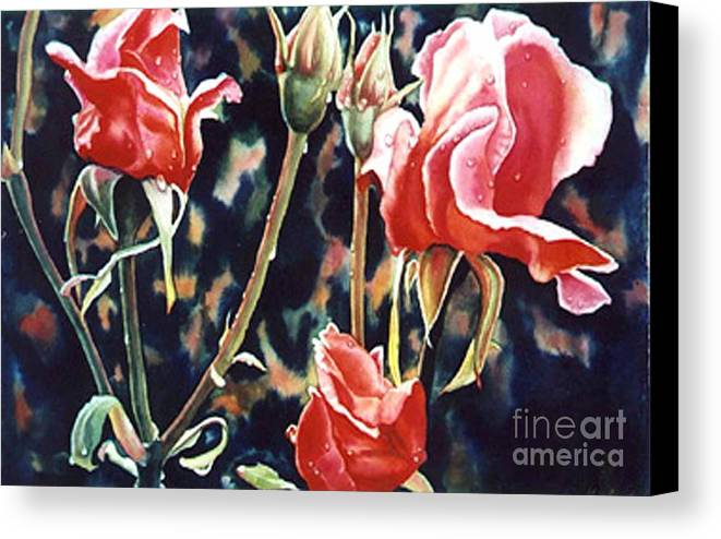 Roses Canvas Print featuring the painting After The Rain by Gail Zavala