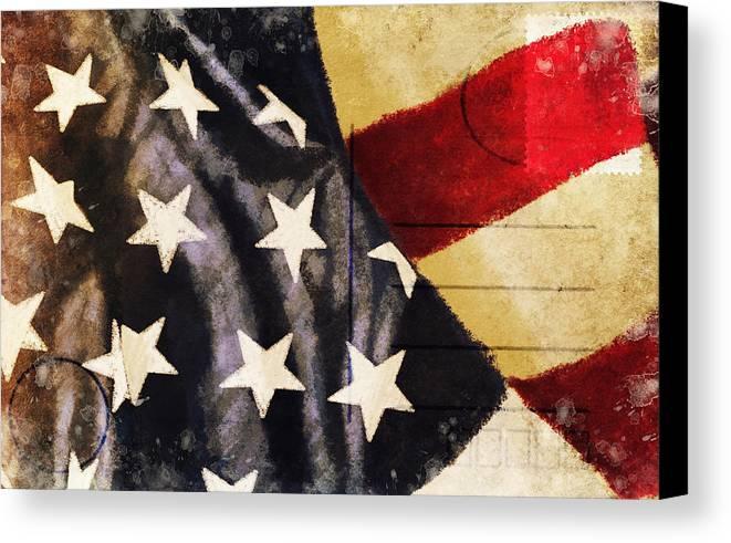Address Canvas Print featuring the photograph America Flag Pattern Postcard by Setsiri Silapasuwanchai