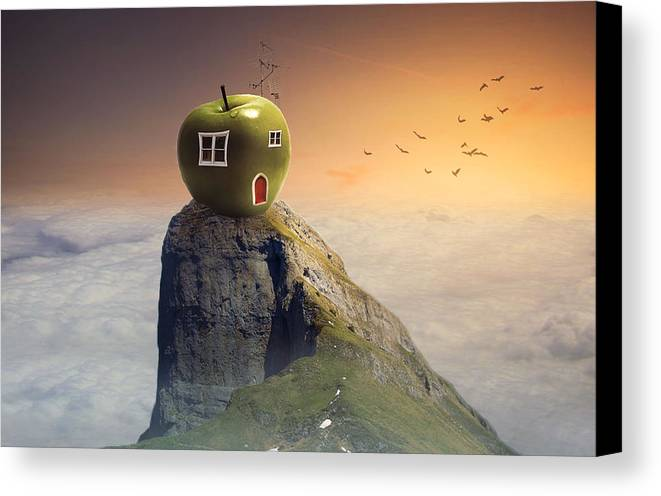Canvas Print featuring the digital art Apple House by Nicole Hernandez