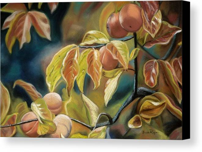 Autumn Canvas Print featuring the painting Autumn Peaches by Brenda Williams