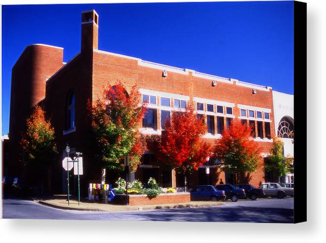 Bank In Fayetteville Canvas Print featuring the mixed media Bank In Fayetteville by Curtis J Neeley Jr