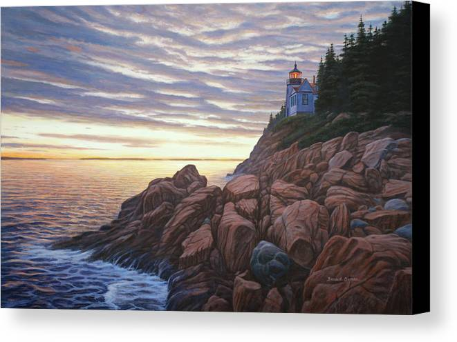 Seascape Canvas Print featuring the painting Bass Harbor Light by Bruce Dumas