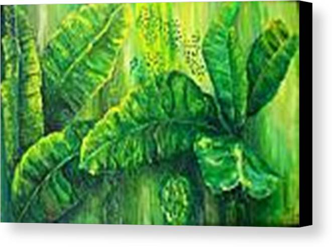 Canvas Print featuring the painting Beautiful Banana Leaves by Carol P Kingsley