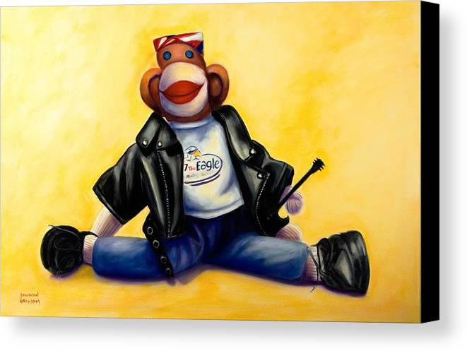 Sock Monkey Brown Canvas Print featuring the painting Biker Dude Made Of Sockies by Shannon Grissom