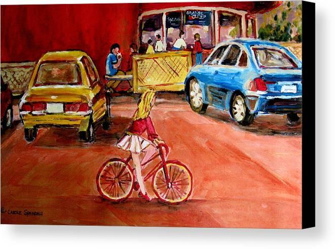Orange Julep Canvas Print featuring the painting Biking To The Orange Julep by Carole Spandau