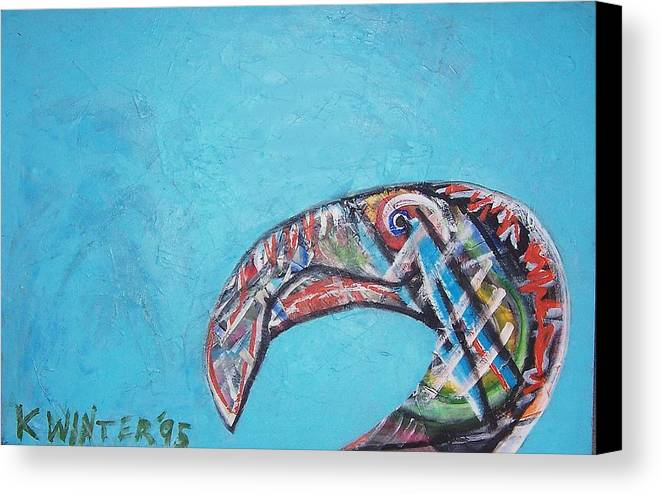 Bird Canvas Print featuring the painting Bird by Dave Kwinter