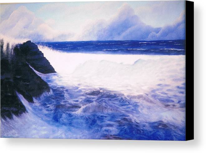 Sea Canvas Print featuring the painting Blue Day by Brett McGrath