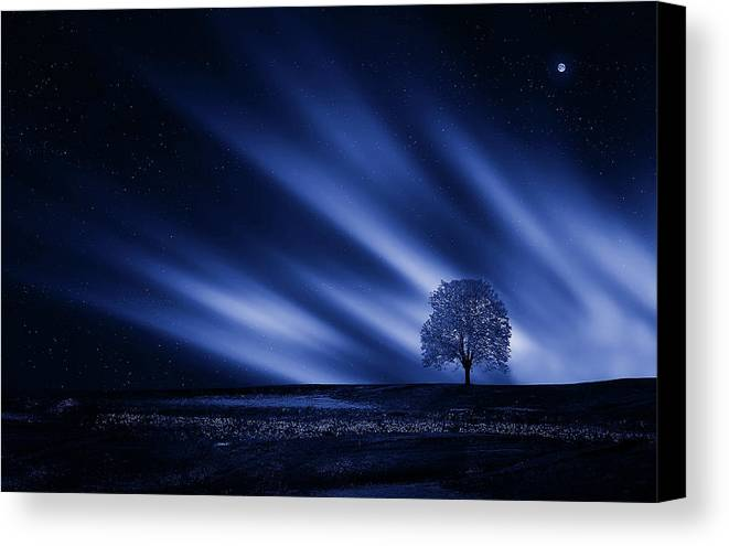 Blue Canvas Print featuring the mixed media Blue Serenity by Bess Hamiti