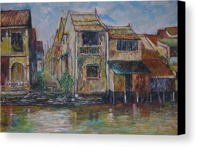 Landscape Canvas Print featuring the painting Boat Ride Along The Malacca River by Wendy Chua