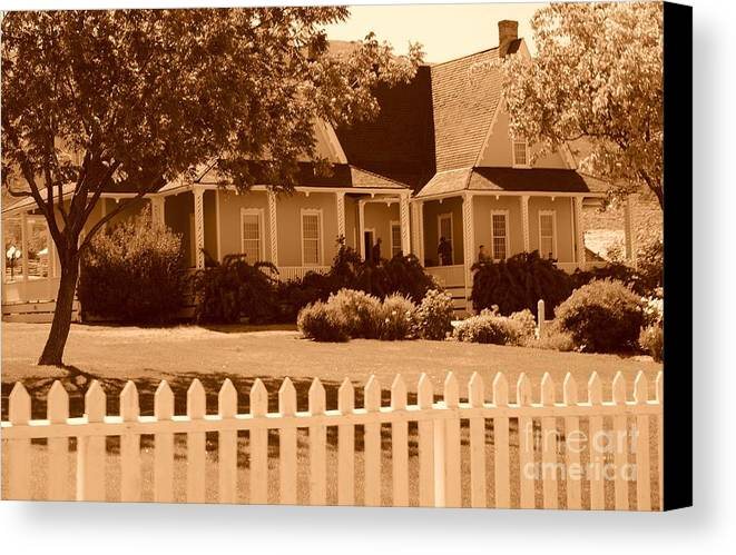 Sepia Canvas Print featuring the photograph Brigham Young Home by Dennis Hammer
