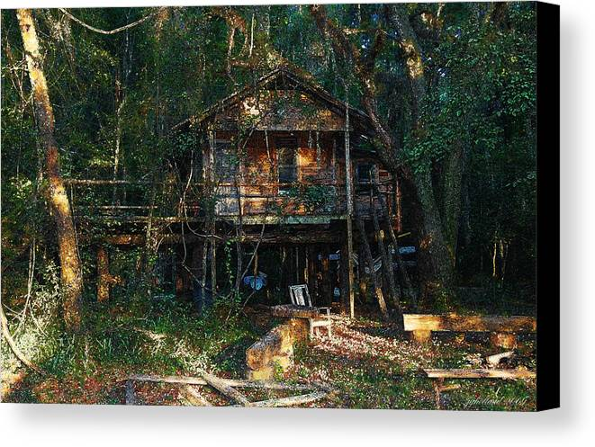 Log Cabin Canvas Print featuring the digital art Cabin Fever Watercolor by Joseph G Holland