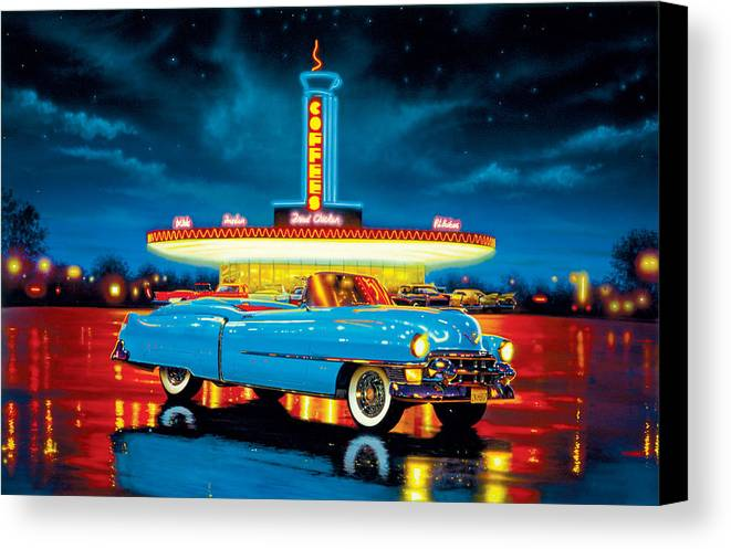 Car Canvas Print featuring the photograph Cadillac Diner by MGL Studio - Chris Hiett